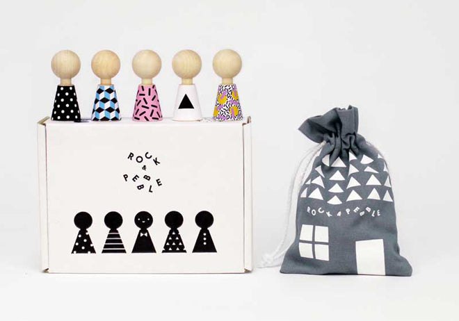 Rock & Pebble 'Modern Pebbles' wooden doll and sticker set, available from Little Lulubel, published by Bobby Rabbit