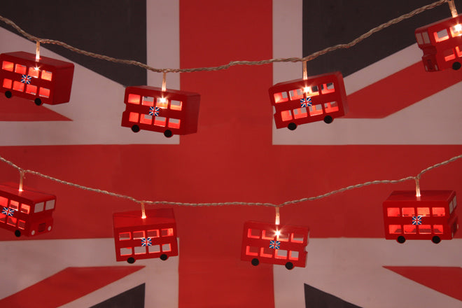 lighting, lighting garlands, children's lighting garlands, children's bedroom lighting, london bus lights, london bus lighting garland, Little Yellow Birds, published by Bobby Rabbit