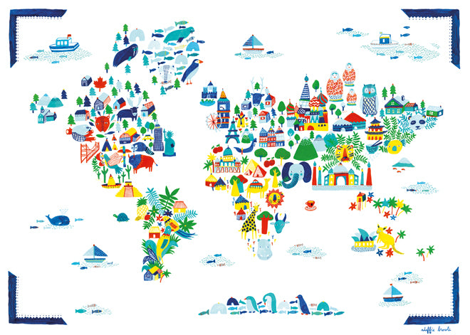 Fine Little World children's world map poster from Little Yellow Birds, published by Bobby Rabbit
