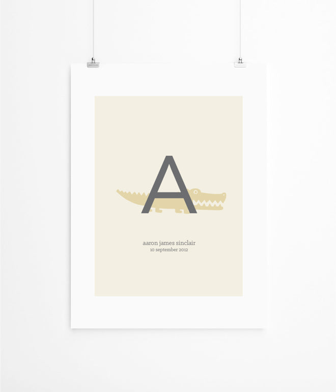 'Animal Alphabet' children's personalised print by Lola's Paperie, published by Bobby Rabbit