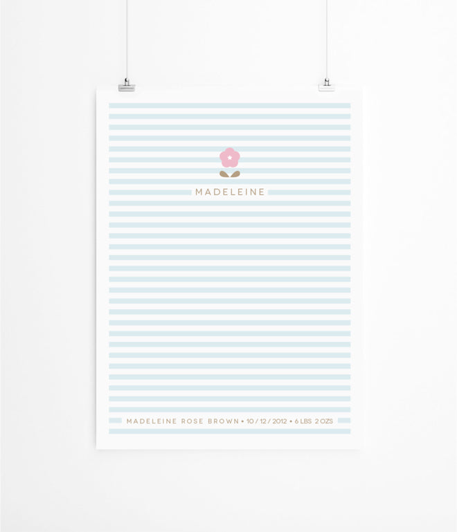'Baby Blossom' children's personalised print by Lola's Paperie, published by Bobby Rabbit