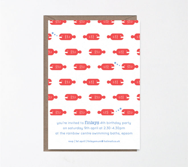 'Swimming Stan' children's personalised party invitation by Lola's Paperie, published by Bobby Rabbit