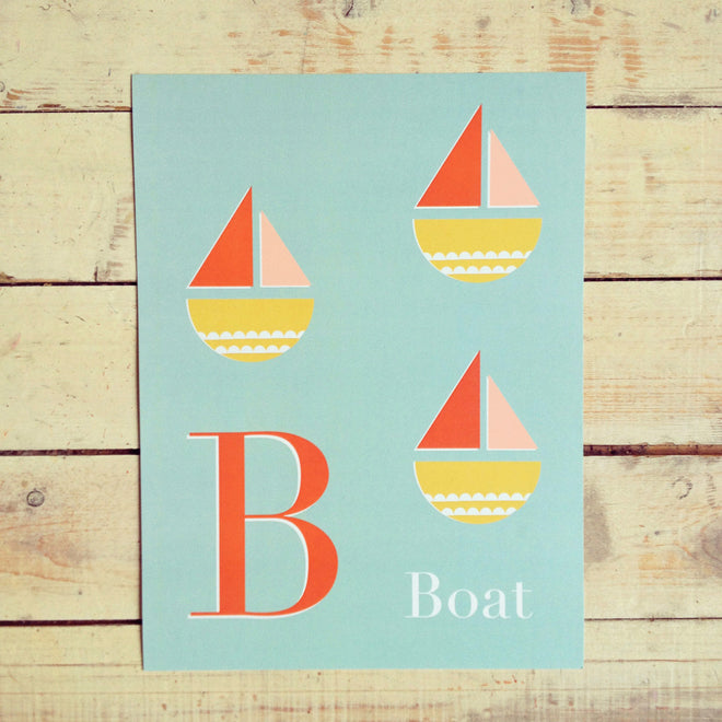 'B is for Boat' wall print for children's rooms by Long Story Co, published by Bobby Rabbit
