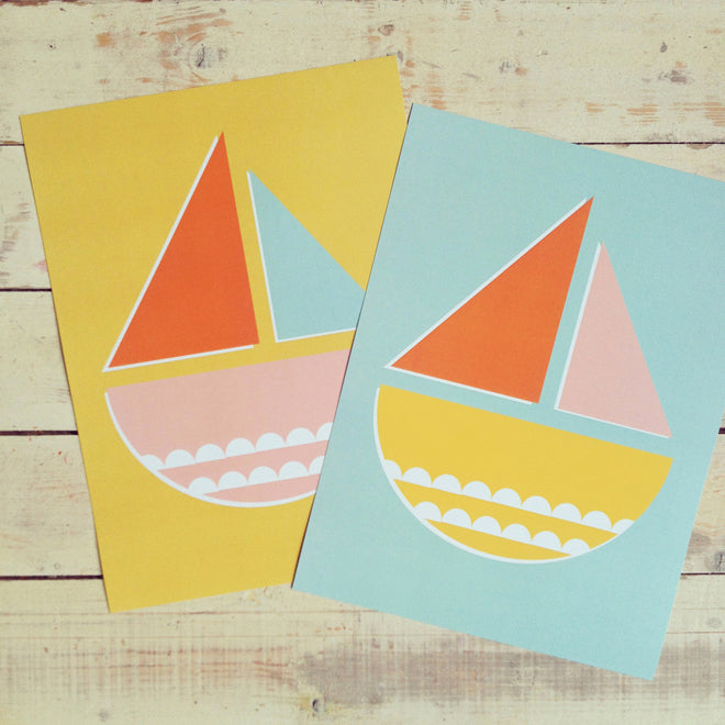 Sail Boat prints by Long Story Co, published by Bobby Rabbit