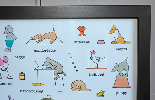An Alphabet of Adjectives alphabet poster for children by Lucy Monkman, published by Bobby Rabbit