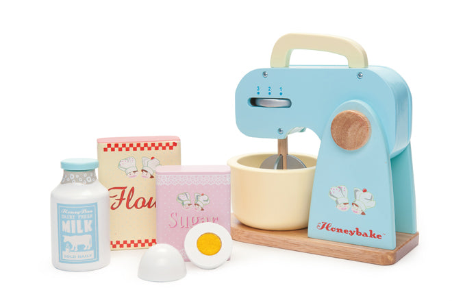 Wooden mixer set toy by Le Toy Van and available from Lula Sapphire, published by Bobby Rabbit
