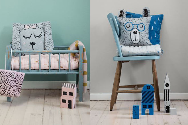 Ferm Living Little Mr Teddy and Little Ms Rabbit cushions for kids, published by Bobby Rabbit