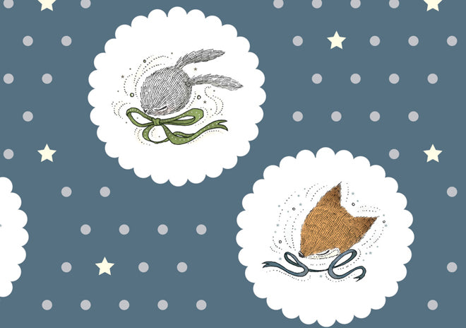 on the wall, wallpaper, children's wallpaper, nursery wallpaper, fox and rabbit wallpaper, Muffin & Mani, Lullabuy, published by Bobby Rabbit