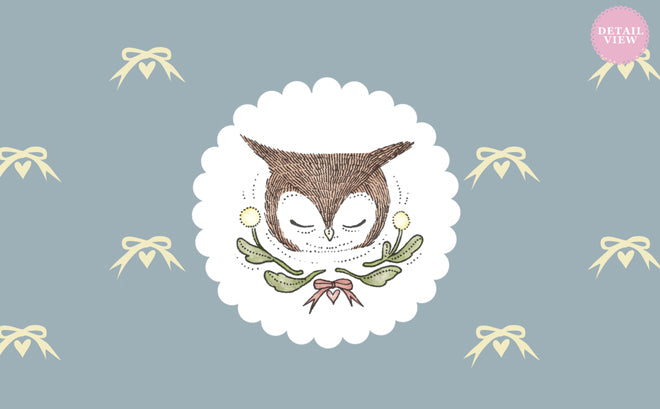 on the wall, wallpaper, children's wallpaper, nursery wallpaper, owl ribbons wallpaper, Muffin & Mani, Lullabuy, published by Bobby Rabbit