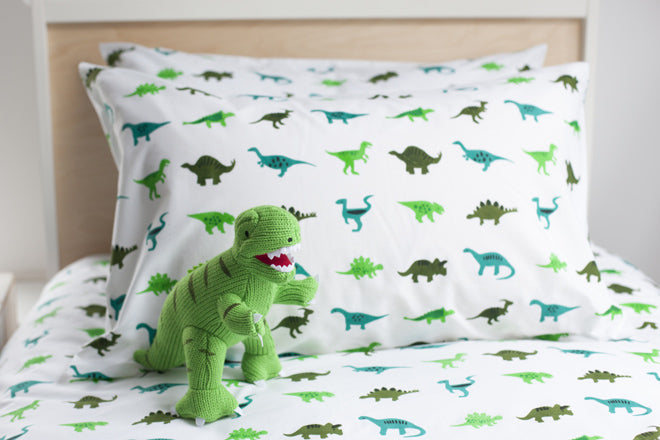 Dinosaurs duvet cover and pillow case by Lulu & Nat, published by Bobby Rabbit