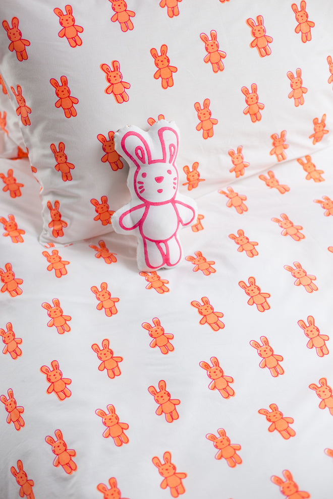 Bunny Rabbit duvet cover and pillow case by Lulu & Nat, published by Bobby Rabbit