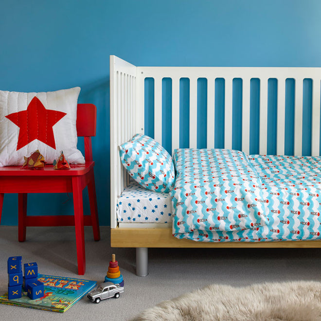 Bedding sets for baby and children from Lulu and Nat, published by Bobby Rabbit