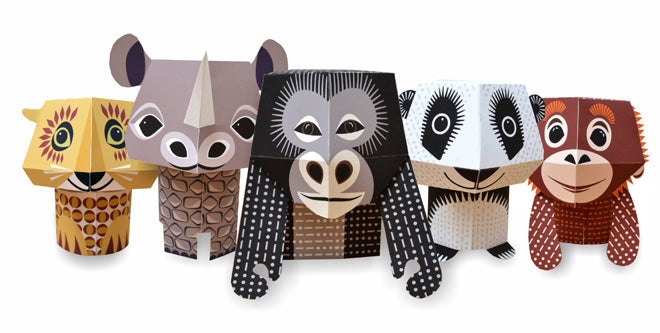 Make-your-own paper animal set by Mibo, featuring 5 endangered species, published by Bobby Rabbit