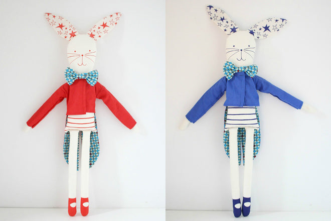 toys, soft toys, soft toy rabbits, circus rabbits, Mikodesign, Milo & Mimi, published by Bobby Rabbit