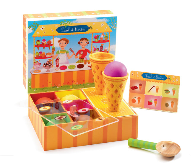 Paul & Cerise's icecream stand wooden toy by Djeco, published by Bobby Rabbit