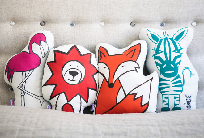 Misty & Boo animal cushions, published by Bobby Rabbit