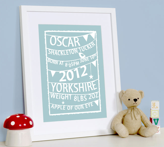 for the wall, wall art, personalised wall art, personalised wall art for babies, new baby gifts, christmas gifts, gifts, christening gifts, birthday presents, Modo Creative, published by Bobby Rabbit