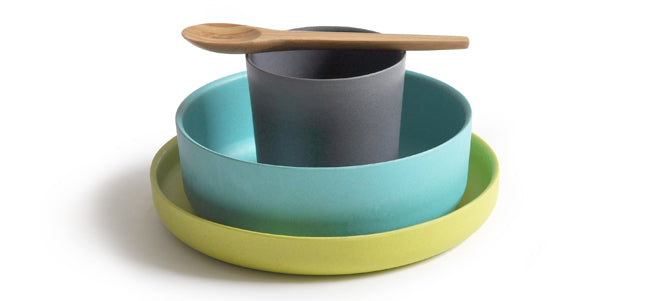 Biobu eco-friendly kids tableware set, made from natural bamboo, available from Molly-Meg and published by Bobby Rabbit