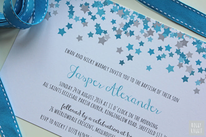 Personalised Christening Invitation by Personally Sweet Shop, published by Bobby Rabbit