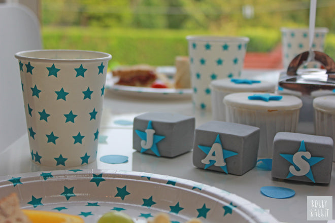 My Little Day 'Blue Stars' tableware from Molly Meg, published by Bobby Rabbit