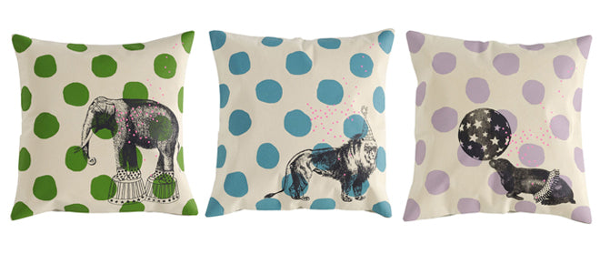 textiles, cushions, circus cushions, children's cushions, La Cerise sur le Gateau, Molly Meg, published by Bobby Rabbit