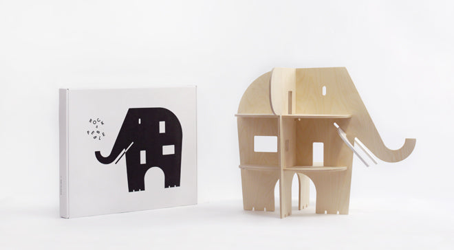 Rock and Pebble 'Ele Villa' wooden dolls house from Molly Meg, published by Bobby Rabbit