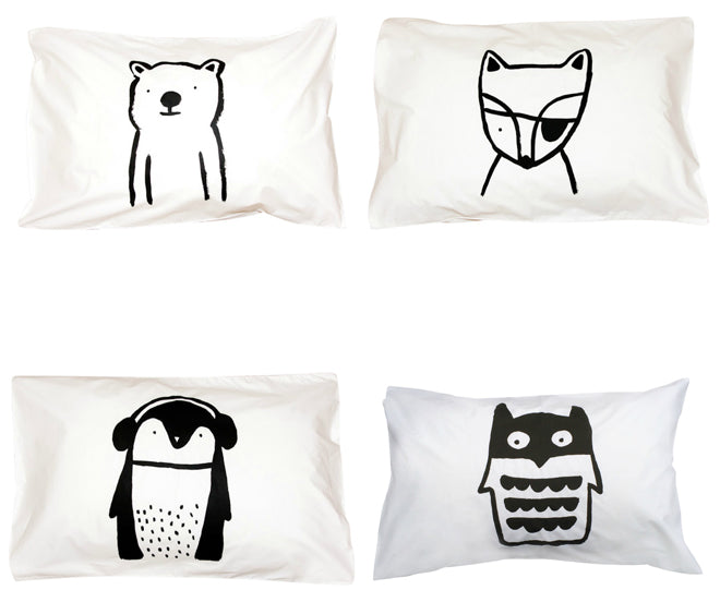 Henry & Co children's animal pillowcases from Molly Meg, published by Bobby Rabbit