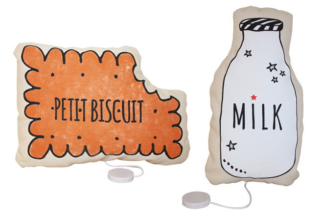 Annabel Kern 'Milk' and 'Petit Biscuit' musical soft toy, published by Bobby Rabbit
