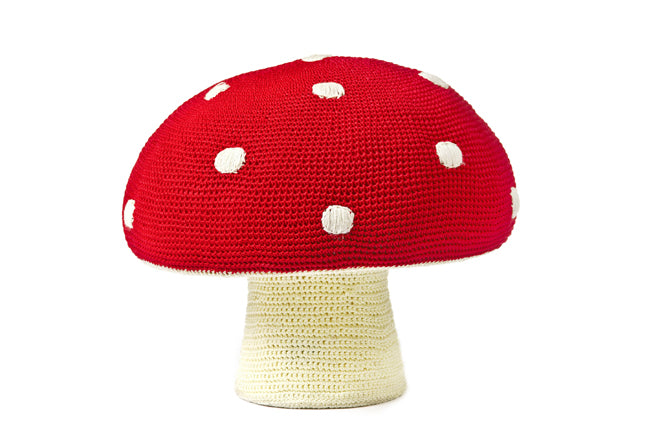 Giant mushroom pouffe for children by Anne-Claire Petit and available from Molly-Meg, published by Bobby Rabbit