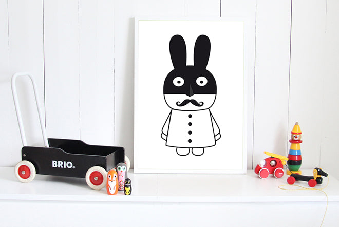 on the wall, wall art, children's wall art, Rabman print, MiniWilla wall art, Molly-Meg, published by Bobby Rabbit
