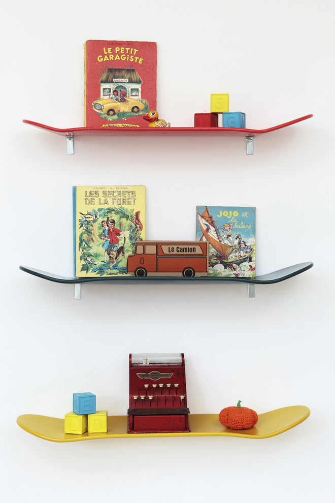 furniture, shelves, children's shelves, book shelves, skateboard shelves, coloured shelves, Lecons de Choses, Molly Meg, published by Bobby Rabbit