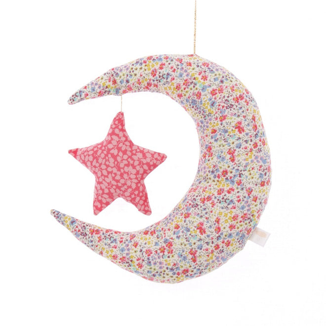 Children's moon and star mobile made from liberty print fabric by Little Cloud, published by Bobby Rabbit