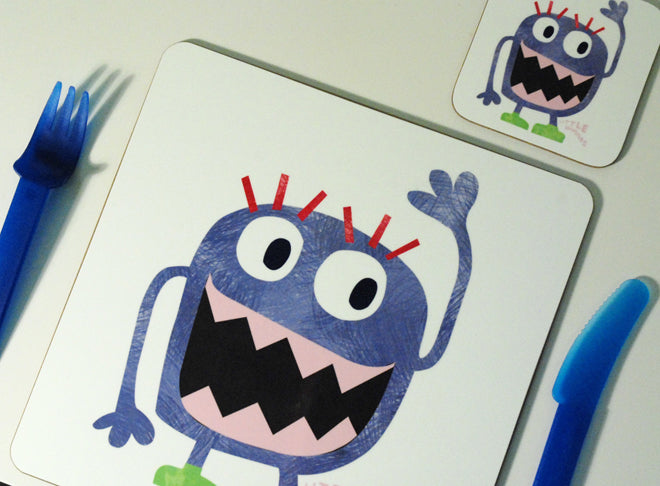 Children's 'Monster' placemats and coasters by Nella, published by Bobby Rabbit