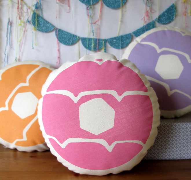 textiles, cushions, children's cushions, biscuit cushions, Nikki McWilliams, published by Bobby Rabbit