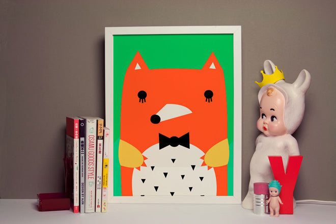 on the wall, wall art, childrens wall art, bear wall art, fox wall art, Noodoll wall art, Noodoll prints, published by Bobby Rabbit