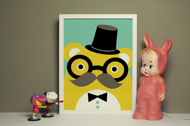 on the wall, wall art, childrens wall art, bear wall art, ricetache wall art, Noodoll wall art, Noodoll prints, published by Bobby Rabbit