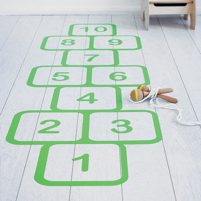 children's room accessories, floor stickers, hopscotch floor sticker, oakdene designs, Notonthehighstreet, published by Bobby Rabbit