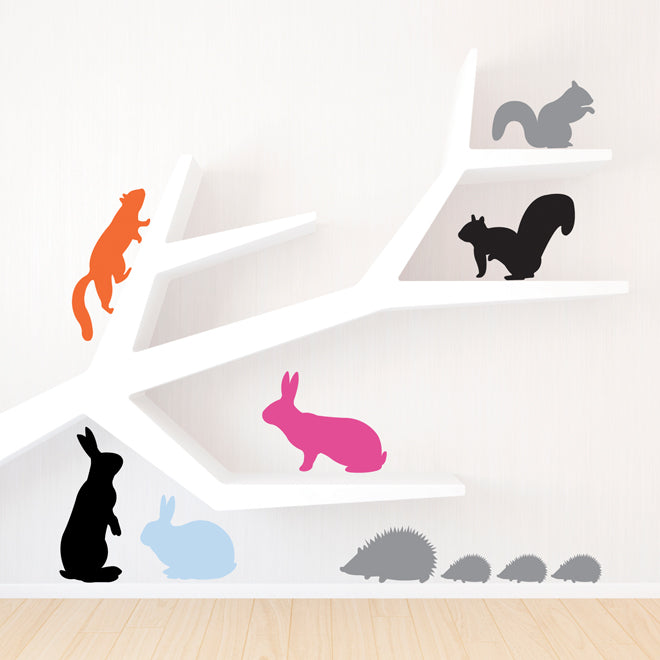 on the wall, wall stickers, children's wall stickers, animal wall stickers, rabbit wall stickers, squirrel wall stickers, hedgehog wall stickers, Lauren Moriarty & Co stickers, Notonthehighstreet, published by Bobby Rabbit