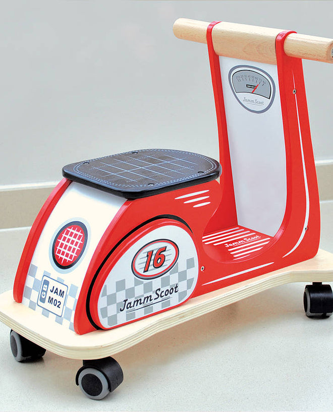 Children's wooden ride-on scooter toy by Jammtoys, published by Bobby Rabbit