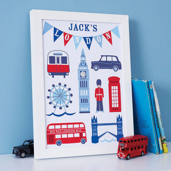 on the wall, wall art, children's wall art, personalised wall art, personalised London print, Sweet Home London, Notonthehighstreet, published by Bobby Rabbit