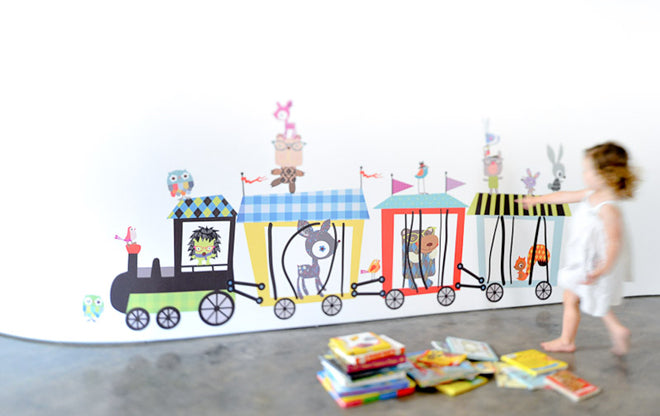 'Circus Train' children's wall sticker from Nubie, published by Bobby Rabbit