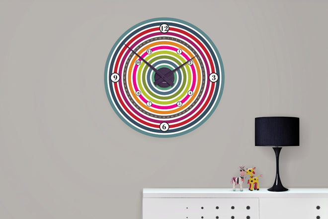 on the wall, clocks, children's clocks, colourful clocks, clock wall sticker, colour wheel clock, Funky Little Darlings, Nubie, published by Bobby Rabbit