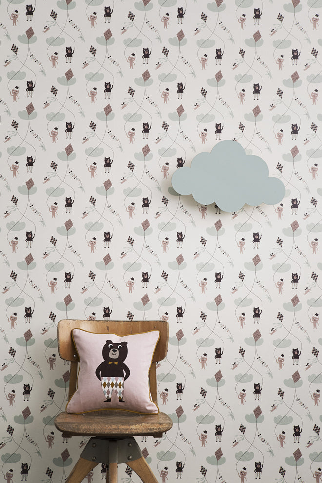 'Bear Flying a Kite' wallpaper by Danish brand Ferm Living, available from Nubie and published by Bobby Rabbit