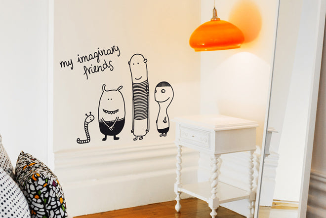 on the wall, wall stickers, wall decals, children's wall stickers, children's wall decals, my imaginary friends wall sticker, Bumoon, Nubie, published by Bobby Rabbit