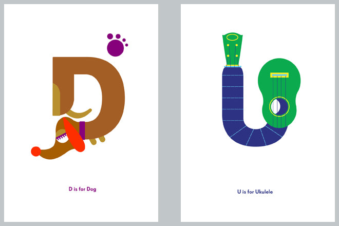 Children's alphabet and letter prints by Nursery Names, published by Bobby Rabbit