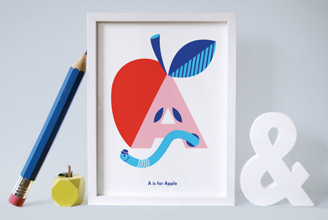 Children's alphabet and letter print by Nursery Names, published by Bobby Rabbit