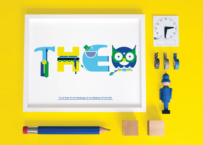 Personalised wall art for children by Nursery Names, published by Bobby Rabbit