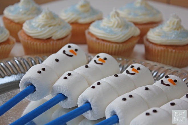 Olaf Marshmallow Snowmen for Frozen themed party, party styling by Bobby Rabbit