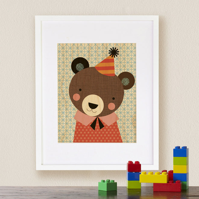 Petit Collage 'Party Bear' print on maple wood for nurseries, published by Bobby Rabbit