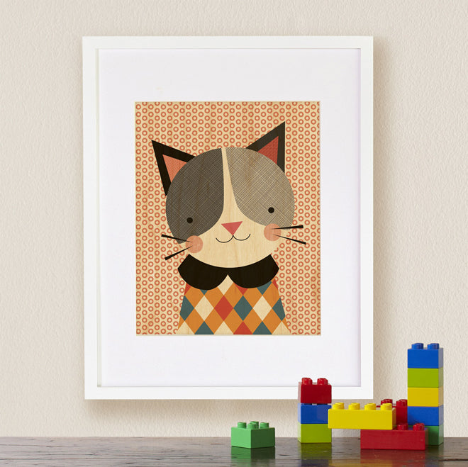 Petit Collage 'Hip Cat' print on maple wood for nurseries, published by Bobby Rabbit